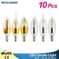 10 stücke Led-lampe Kerze E14 9W 12W Goldene Aluminium Led-lampe AC 220V Led Lampe Kühlen warm Weiß Lampada Bombillas Lumiere Lampara