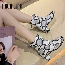 NIUFUNI PU Leather Square Toe Snake Print Womens Ankle Boots Low Heel Back Zipper Martin Fashion Shoes 34-39 2019
