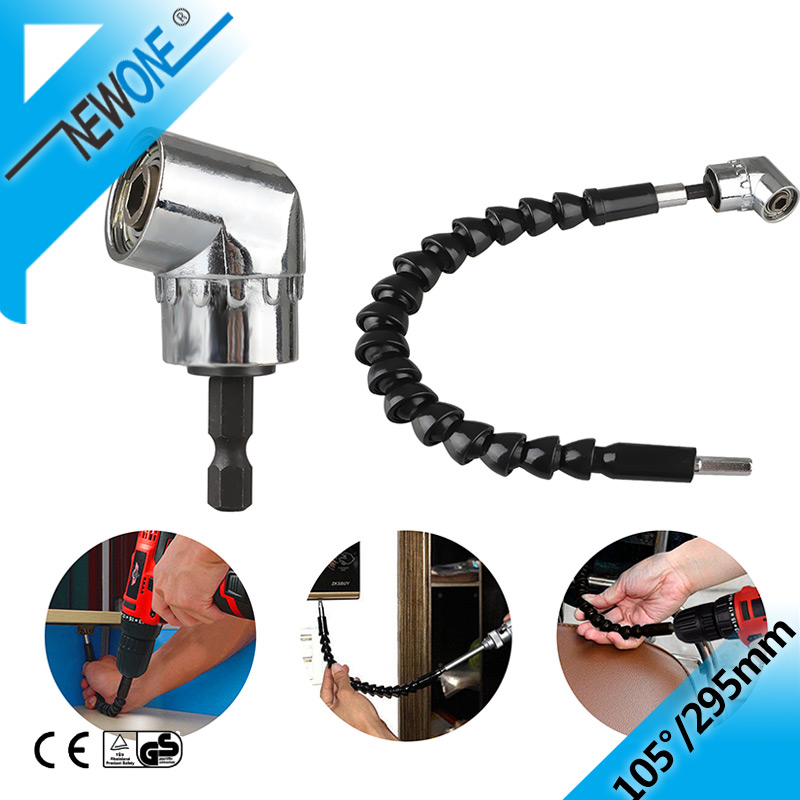 """105 Degree Right Angle Drill Attachment And Flexible Angle Extension Bit Kit For Drill Or Screwdriver 1/4"""" Socket Adapter Tool"""