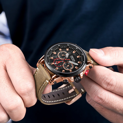 Quartz Men Watches Fashion Genuine Leather Watch Clock MEGIR quartz male watches Genuine racing men Run Chronograph watch in Quartz Watches from Watches