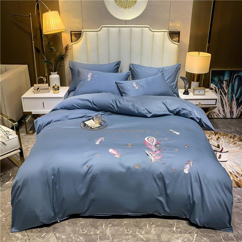 Роскошный комплект постельного белья из 100% египетского хлопка с вышивкой перьями, комплект с двойным пододеяльником, простыня, наволочка, д