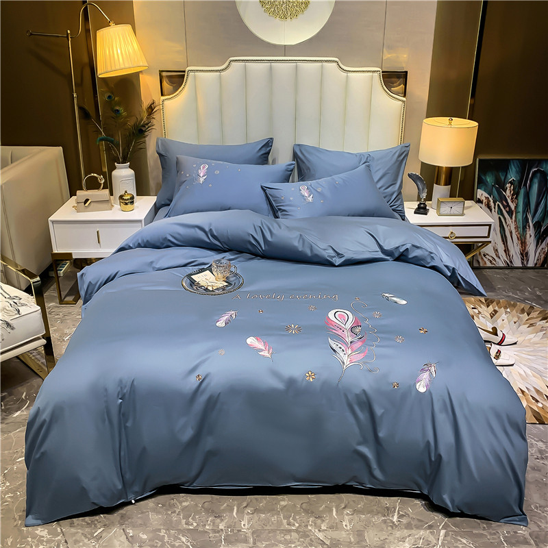 Luxury 100% Egyptian Cotton Feather Embroidery Bedding Set Double Duvet Cover Set Bed Linen Fitted Sheet Pillowcase Home Textile