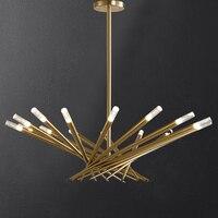 Pós moderno preto/ouro luxo led luzes do candelabro sala de jantar criativo pendurado lâmpada nordic designer ninho pássaro luminárias