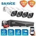 SANNCE 4CH 2MP XPOE H.264 Система безопасности видео 4 шт. 1080P наружная Водонепроницаемая инфракрасная камера ночного видения, беспроводная NVR комплект