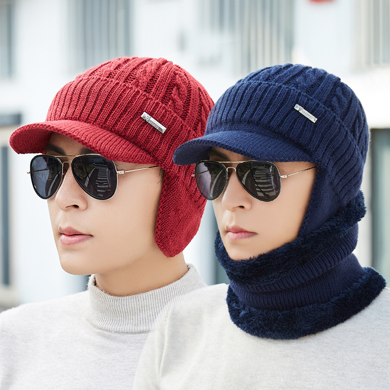 A Set For Hat And Scarf 2019 New Style Men Fashion Keep Ear Warm Knitted Short Brim Caps With  Fine Hair For Outdoor Or Cycling