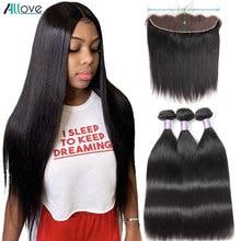מלזי ישר שיער חבילות עם פרונטאלית Allove שיער טבעי 3 חבילות עם סגירת 13X4 חזיתי תחרה עם חבילות ללא רמי
