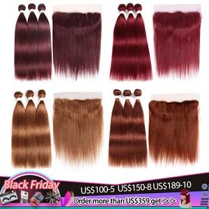 99j/borgonha feixes de cabelo humano com frontal 13x4 pré-colorido brasileiro feixes de tecer cabelo reto com fechamento não remy kemy
