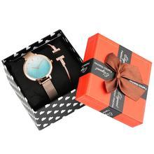 Women's Watch Bracelet Gift Set Quartz Wristwatch for Girls Blue Gradient Dial Watches for Female Wrap Bracelet