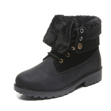 COZULMA Women Winter Plush Lining Turned-over Work Boots Shoes Lady Fashion Ankle Female Lace-up Bootie Plus Size 36-42