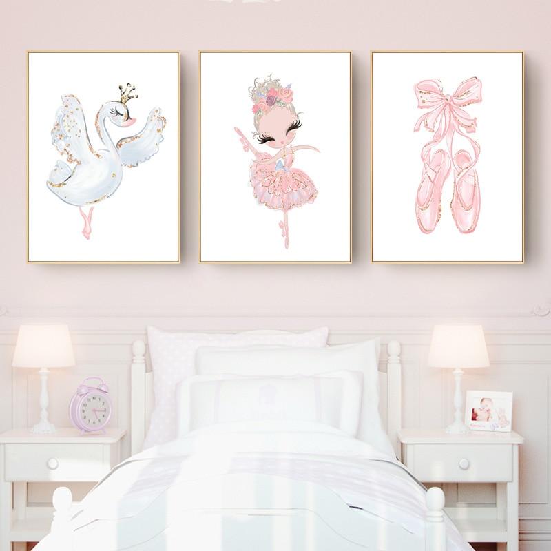 €1.49 49% de réduction|Rose cygne princesse pépinière Art mural toile  peinture ballerine affiches et impressions nordique enfant bébé fille  chambre ...