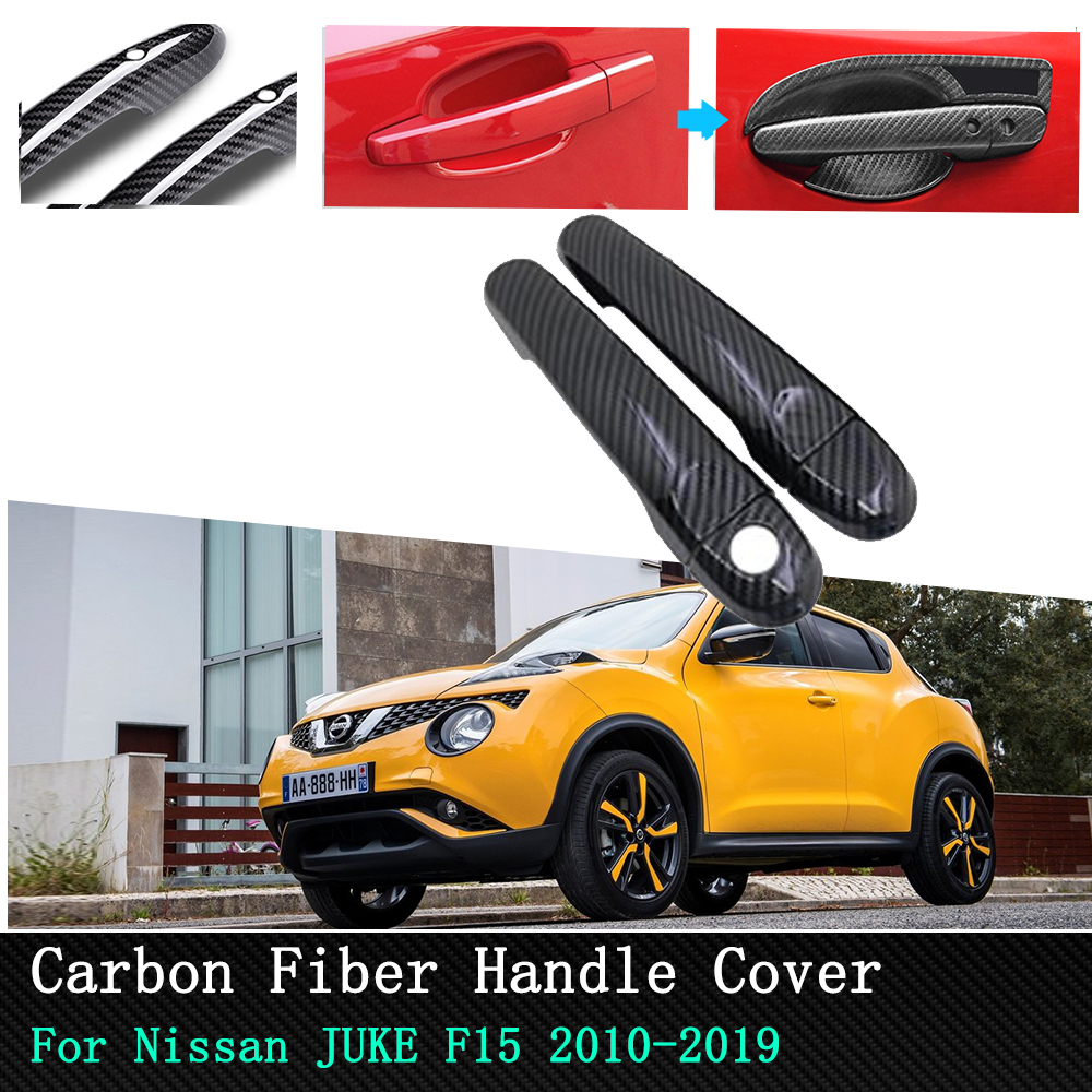 For Nissan JUKE F15 Infiniti Esq Car Exterior Sticker Door Handle Cover 2010 2019 Chrome Carbon Fiber Car Door handle protection