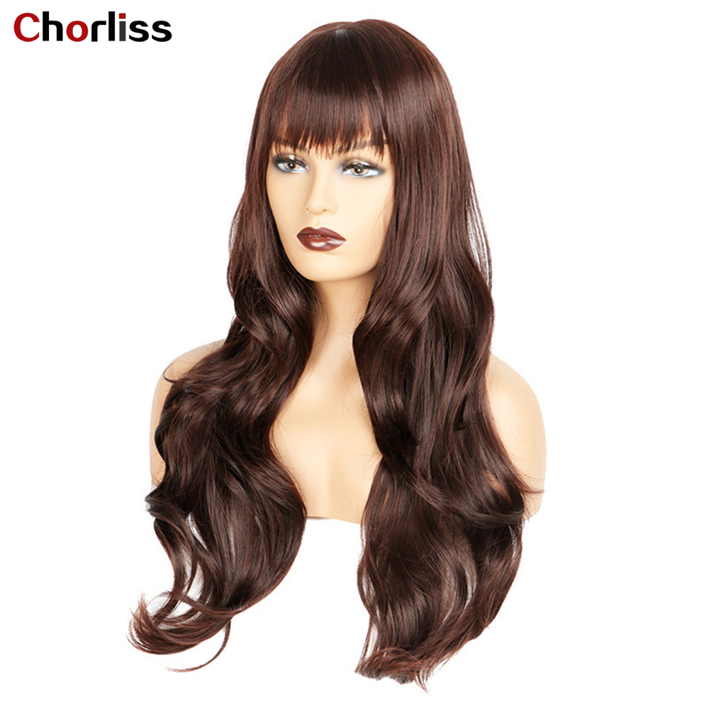 """Chorliss Long Wavy Brown Blonde Synthetic Hair Wigs With Bangs High Temperature Fiber Fashion Cosplay Party Wigs For Women 24"""""""