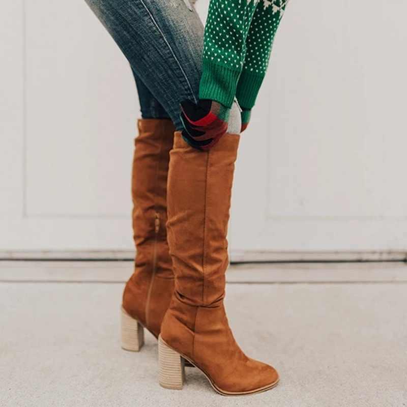 ผู้หญิงต้นขาสูงบู๊ทส์แฟชั่นหนังนิ่มรองเท้าส้นสูง Lace up ผู้หญิงมากกว่าเข่าพลัสขนาดรองเท้า Drop การจัดส่ง 2019