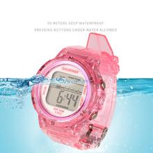 Uczeń zegarek do pływania dzieci sportowy cyfrowy elektroniczny zegarek przycisk pracy podwodny wodoodporny 50M kolorowy zegar dla dzieci 602 tanie tanio YUWSPR 5Bar Z tworzywa sztucznego Klamra CN (pochodzenie) Szkło powlekane 23cm 43mm Silikon S602 ROUND 18mm 15mm Stoper