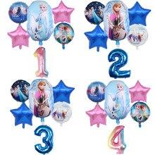 6 uds. De globos de helio de princesa Frozen de Disney para niños y niñas, globos de lámina de ducha con número de 32 pulgadas, decoraciones para fiesta de cumpleaños