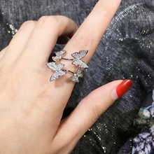 Fashion 3 Colors Silver Luxury Crystal Butterfly Rings for Women Jewelry Fashion Open Adjustable Finger Ring colors for fashion