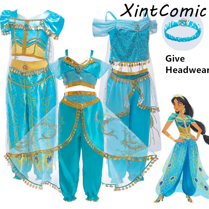Christmas Children's Dress Aladdin's Lamp Cosplay Costume Jasmine Princess Girl Dress Role Costume Cloak + Headgear