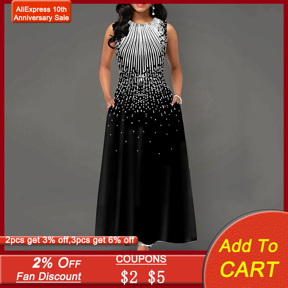 Contrast Color Evening Party Dress Women Sleeveless A-Line Elegant Prom Dresses With Pocket Vintage Printed Robe De Soiree