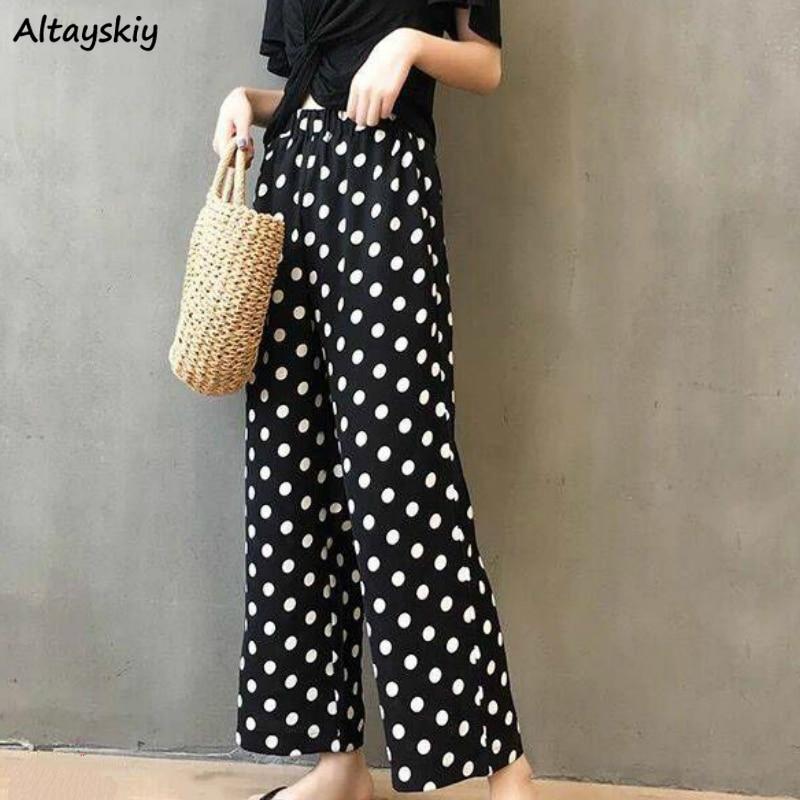 Wide Leg Pants Women Chiffon Dot Summer Retro Fashion Korean Modern Slim High Waist Female Capris Comfortable Fall Befree 2020