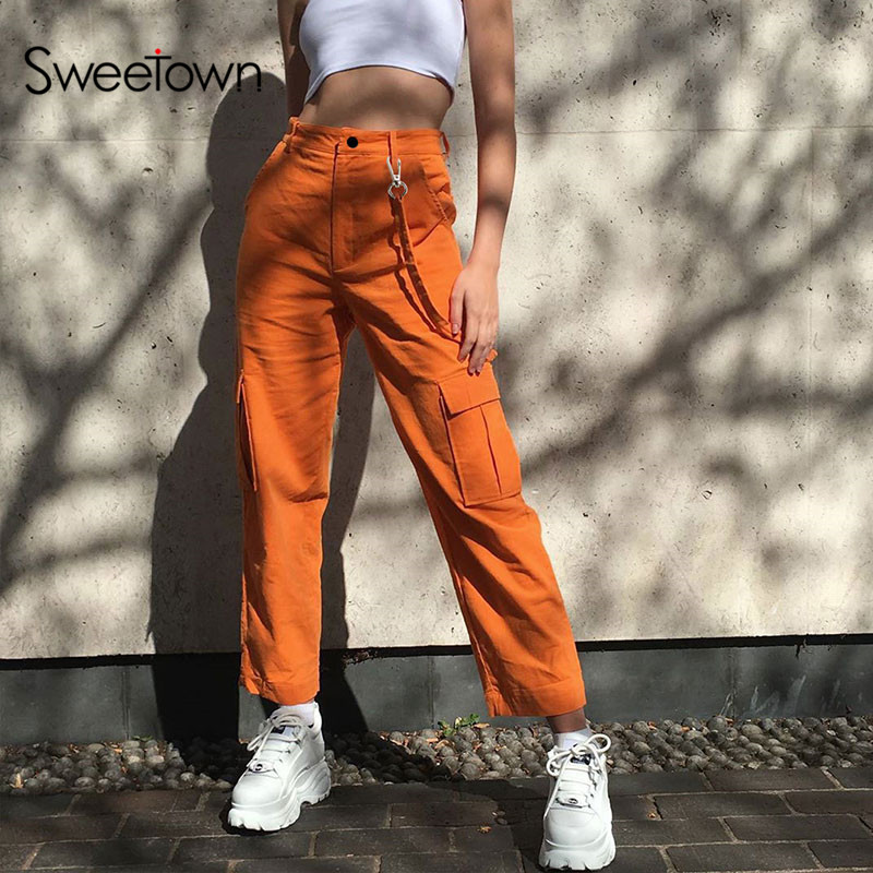 Sweetown 2019 Autumn Casual Cargo Pants Women Orange Solid Baggy Jogger Trousers Patchwork Pockets High Waist Pants Streetwear