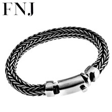 FNJ Wire-cable Chain Bracelet 925 Silver Original Pure S925 Silver Bracelets for Men Jewelry Simple width 8mm(China)