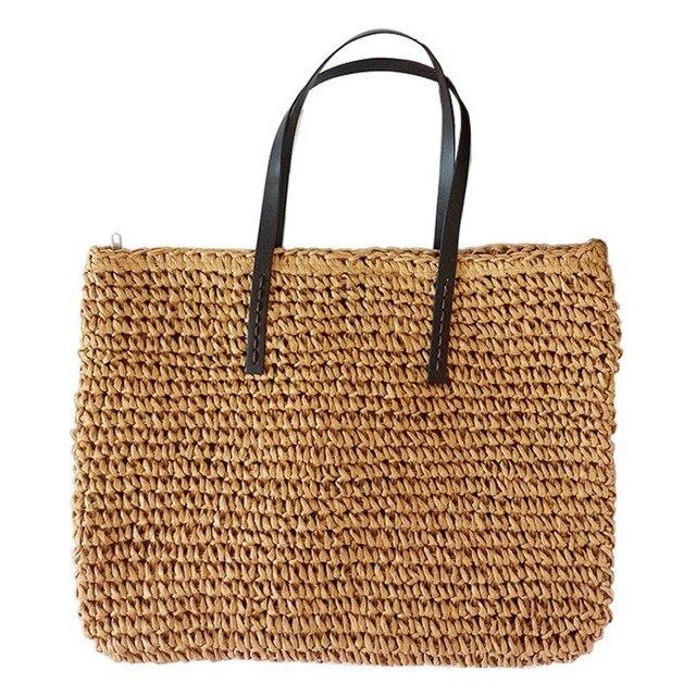 Women Handbag Summer Beach Bag Rattan Woven Handmade Knitted Straw Large Capacity Totes Leather Women Shoulder Bag Bohemia New 1