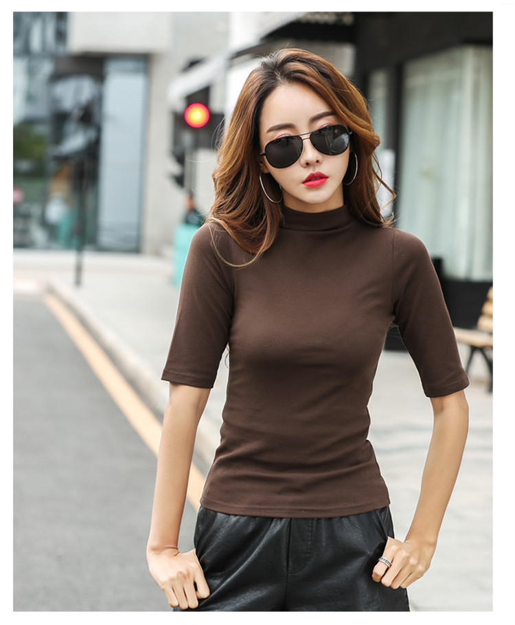 MRMT 2021 Brand Womens Half High Collar T-Shirt Mid-sleeved T Shirt For Female Woman Clothing New Thin Tops Womens T-shirts 2