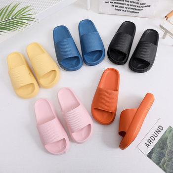 Kobiety grube sandały na platformie kryty łazienka pantofel miękkie Eva antypoślizgowe pary na piętro w domu slajdy damskie buty na lato tanie i dobre opinie PICKSUMMER Med (3 cm-5 cm) Wsuwane CN (pochodzenie) Indoor Płaskie z kapcie 3-5 cm Podręczne Dobrze pasuje do rozmiaru wybierz swój normalny rozmiar