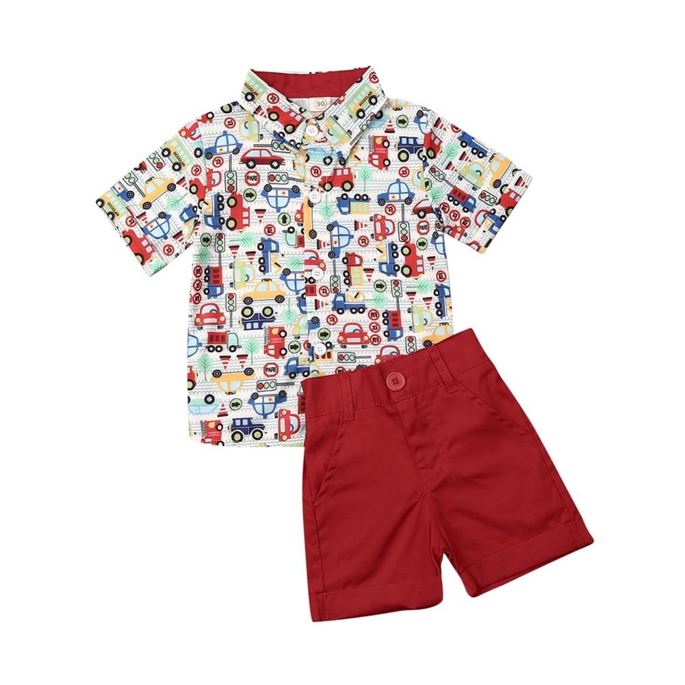 UK Baby Boy Clothes Short Sleeve Car Print T-shirt Shorts Outfit Sunsuit C Lothes 2PCS