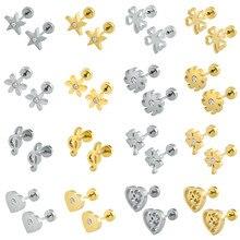 Brincos de piercing femininos zemo, brincos de flores para bebês, brincos de aço inoxidável 316l, pequenos brincos de coração para crianças, brincos de piercing feminino