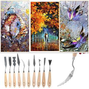 Image 5 - 10 unidades/juego de paleta de pintura de acero inoxidable, cuchillo, espátula para pintura al óleo, herramientas raspadoras