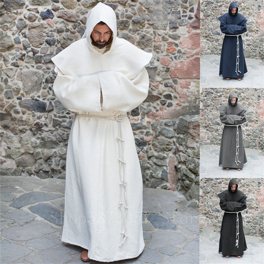 Medieval Cosplay Costumes For Man Halloween Vintage Renaissance Wizard Monk Priest Hooded Cloak Party Solid Cape Robes
