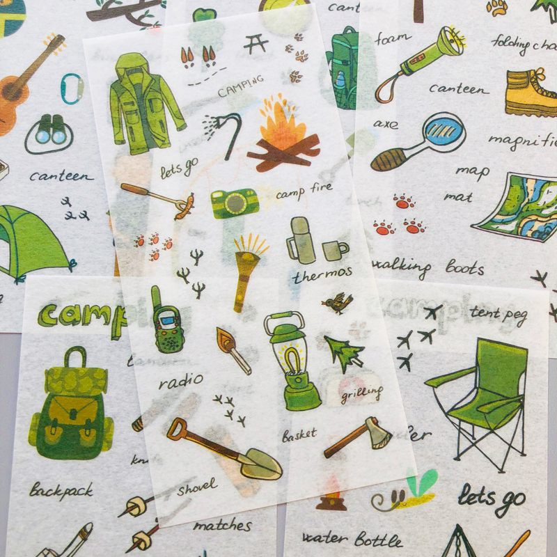 6 Sheets Outdoor Camping Paper Adhesive Decorative Stickers Album Diary Stick Label