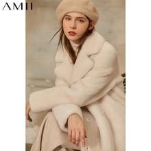 Amii Minimalisme Winter Dikke Bontjas Mode Effen Revers Straight Knielange Vrouwen Jas Causale Winter Jas Vrouwen 12041044