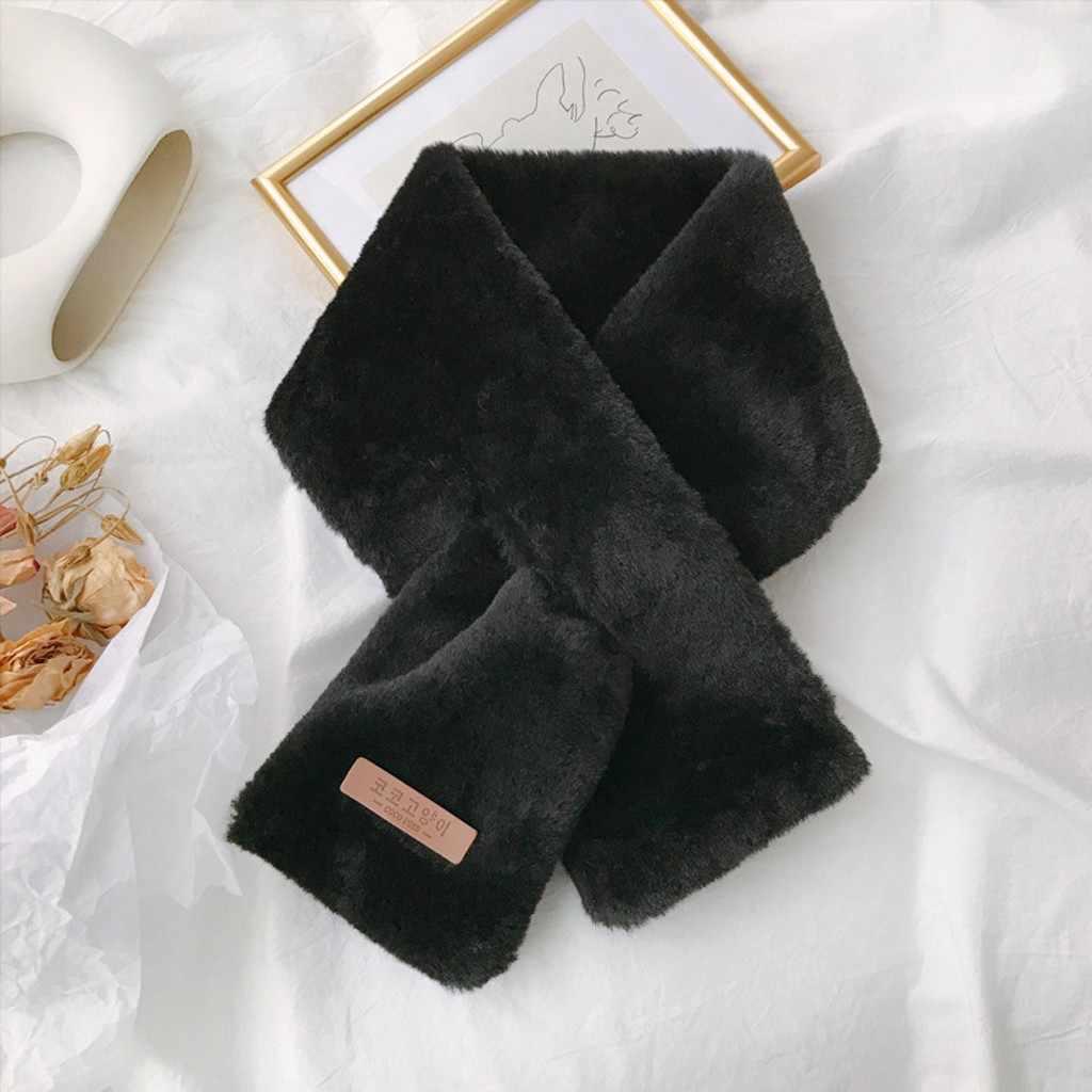 Donne Sciarpe di Pelliccia di Modo di Autunno Inverno Faux Fur Sciarpa Scialli Bandana Puro Tuta Sportiva di Colore Sciarpe Calde per le donne Poncho Stole