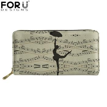 FORUDESIGNS Ballet Melody Design Female Long Wallets Music Notes Waterproof Leather Wallet for Women Zipper Clutch Purses Beige фото
