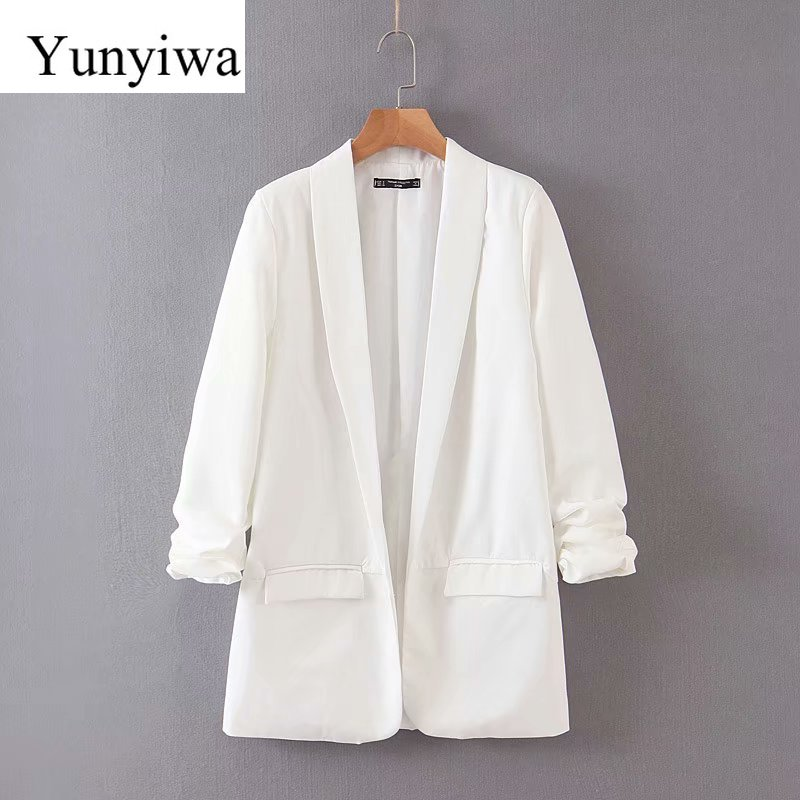 2020 Women Elegant Pleated Sleeve Design Blazer Notched Collar Open Stitch Long Sleeve Female Causal Stylish Outwear Coats