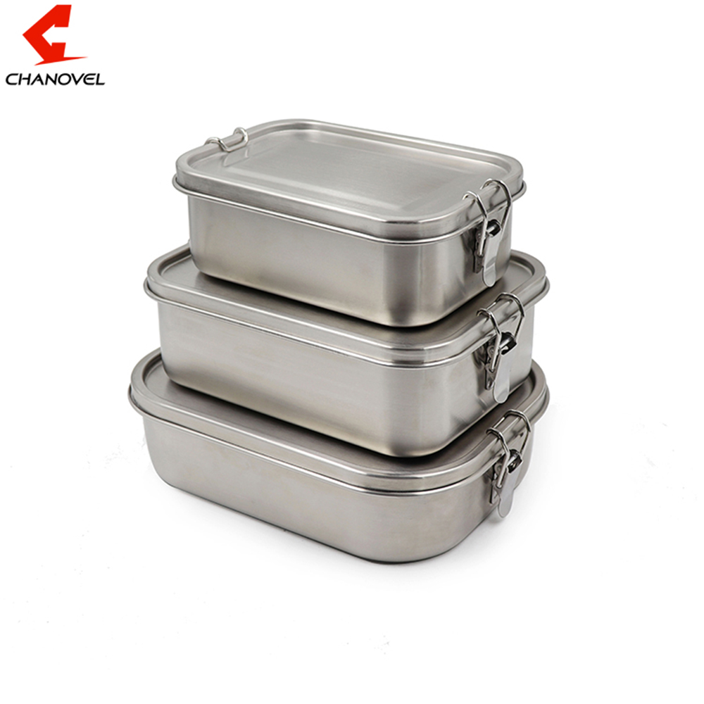 CHANOVEL 304 Stainless Steel Lunch Box Single Layer Adult Lunch Container Sealed Leakproof Rectangular ланч бокс With Divider