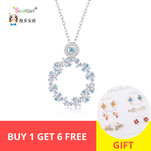 New arrival 100% 925 Sterling Silver Blue and White CZ Pendants & Necklaces Women DIY fashion Jewelry for women gifts недорого