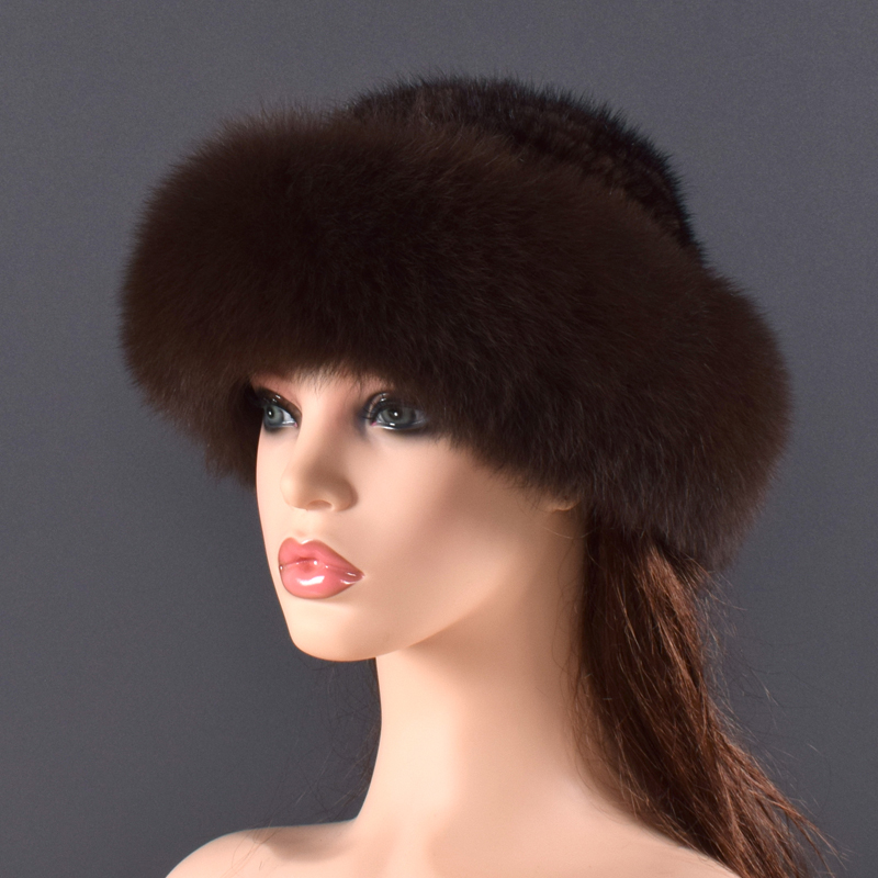 Gorros de piel de visón Real para mujer, sombreros de invierno de piel de zorro auténtica, sombrero de invierno de calidad de lujo, elástico, suave y esponjoso natural sombrero de piel - 5