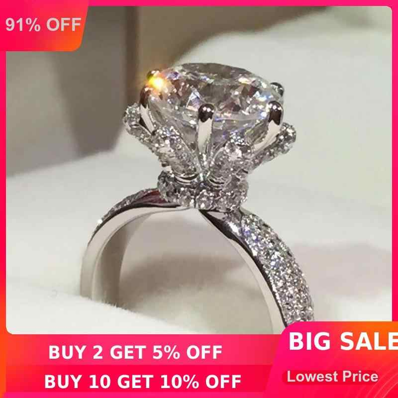 choucong Luxury ring 3ct AAAAA zircon cz Genuine 925 Sterling Silver Women Engagement Wedding Band Ring for women Bridal Jewelry