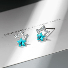 KOFSAC Cute/Romantic 925 Silver Stud Earrings Girl Jewelry Shiny Zircon Blue Star CZ Hollow For Women Anniversary Gifts Hot