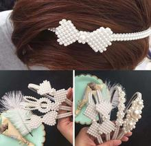 Baby Girl Hairband Headdress Wedding Kids Bridesmaid Bridal  Pearl Hair Band Accessories