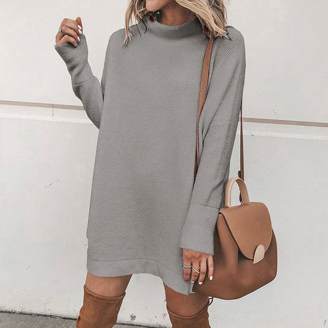 2020 Autumn Sweatshirt Dress Women Warm Winter Dress Women Long Sleeve Casual Loose Dress Ladies Female Vestidos Black 5