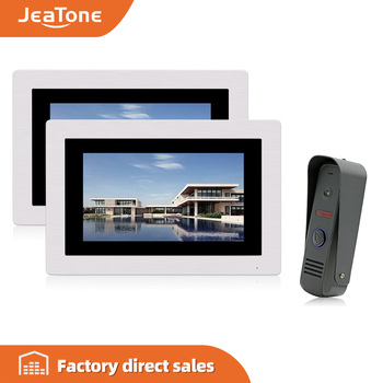 цена на JeaTone 7 Touch Screen Wired Video Doorbell Video Intercom Rainproof Door Phone Home Security System 1 Camera 2 Monitors