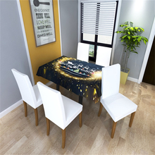 Merry Christmas Table Cover Chair Golden Fireworks Kitchen Tablecloth Party Festival Home Decoration DiningTable Cloth