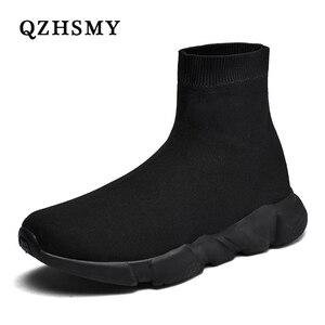 Image 1 - Yeni örgü çorap ayakkabı erkek spor ayakkabı nefes rahat erkek ayakkabıları çift loafer ayakkabılar adam rahat Zapatillas Hombre 35 47