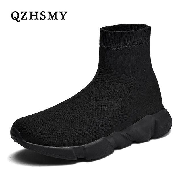Yeni örgü çorap ayakkabı erkek spor ayakkabı nefes rahat erkek ayakkabıları çift loafer ayakkabılar adam rahat Zapatillas Hombre 35 47