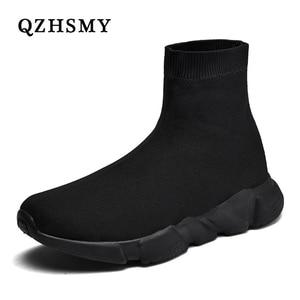 Image 1 - 새로운 메쉬 양말 신발 남성 스니커즈 통기성 캐주얼 남성 신발 커플 로퍼 신발 남자 편안한 Zapatillas Hombre 35 47