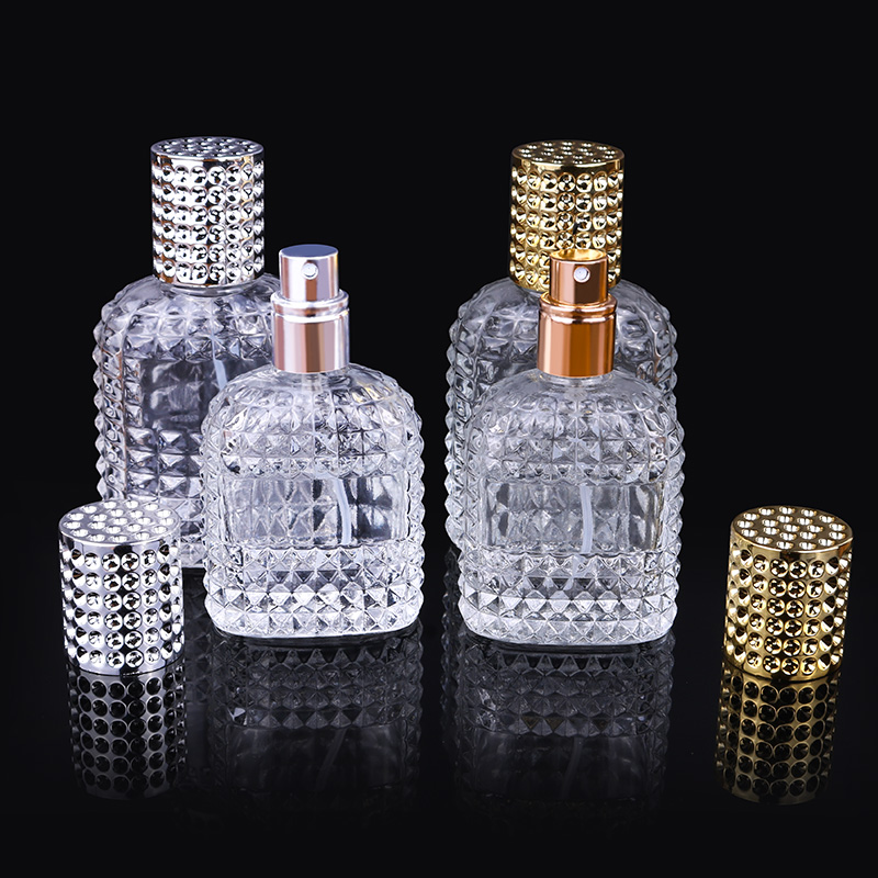 30ml 50ml Personality Transparent Glass Sprayer Pump Empty Perfume Bottle Portable Travel Parfum Atomizer Case